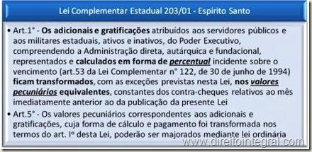 Lei Complementar 203/2001 do ES. Modificação da Base de Cálculo das Gratificações e Adicionais dos Servidores Ativos e Inativos. Substituição de percentuais por valores em pecúnia.