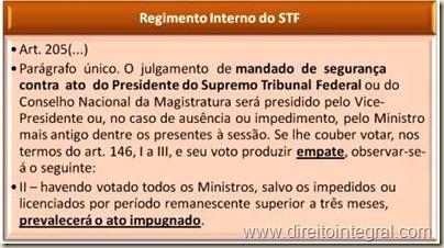 Regimento Interno do STF - RISTF - Art. 205, parágrafo único, inciso II - empate na votação de Mandado de Segurança contra ato do Presidente.