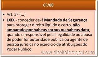 Constituição Federal - CF - art. 5º, LXIX. Mandado de Segurança e Habeas Data.