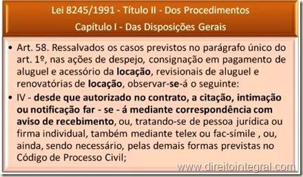 Lei de Locação - Art. 58, inciso IV - Citação, intimação e notificação por correspondência com aviso de recebimento.