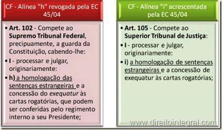 Constituição Federal - CF - EC 45/2004 - art. 105,I,a - STJ e Homologação de Sentença Estrangeira.