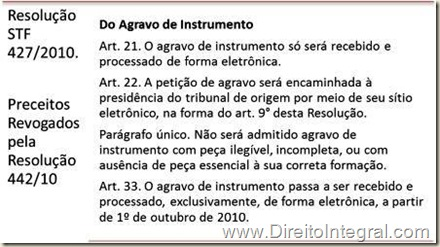 Envio Eletrônico do Agravo de Instrumento do Art. 544 do CPC ao STF a partir de outubro de 2010