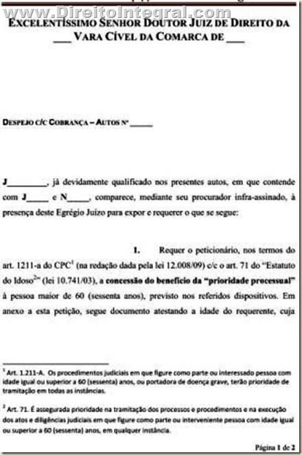 Modelo de Petição requerendo a concessão do benefício da tramitação processual para idoso