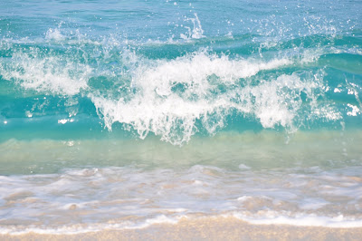 Magically beautiful beach colors: teal and turquoise wave, soft golden sand. Hawaii - Photo by Lisa Callagher Onizuka
