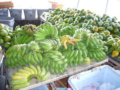Bananas and Papayas. Hilo Hawaii farmer's market.