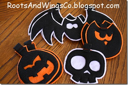 felt pieces from halloween template