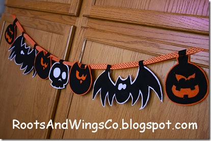 felt garland from halloween template