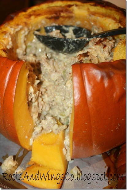 halloween party meal in a pumpkin