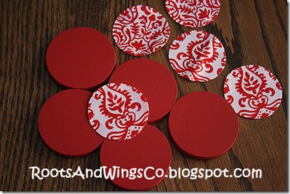 paint your wood and cut out paper or fabric circles