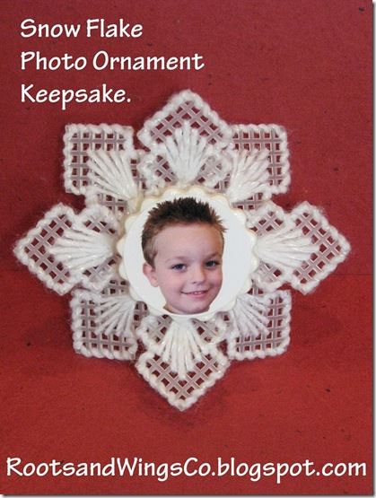 White snowflake ornament with picture