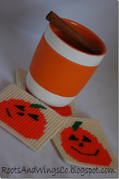 halloween plastic canvas coaster a