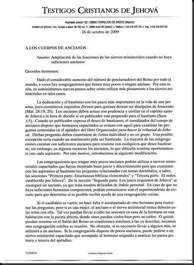 PROCEDIMIENTOS-SIERVOS MINISTERIALES--26 OCTUBRE 2009-DICIEMBRE 2009 - Pag 01
