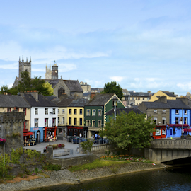 Kilkenny Skyline by Holly Lent - City,  Street & Park  Skylines ( ireland, kilkenny, cathedral, bridge, river )