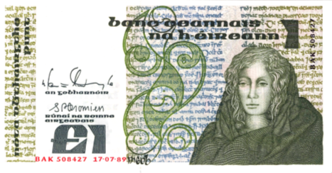 Medb of Connaught on an Irish pound note: model for Queen Esperanza? (Image GNU from <a href='http://en.wikipedia.org/wiki/File:Punt_-_Series_B_-_Ireland.png'>Wikimedia Commons</a>)