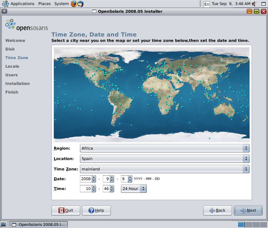 Africa begins in the Pyrenees, according to this Sun OpenSolaris installer.