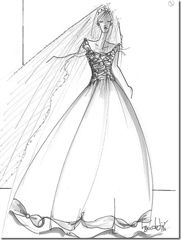 kate middleton wedding dress sketches. A gown with silk bows and