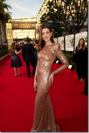 "2011 Nominated for BEST PERFORMANCE BY AN ACTRESS IN A MOTION PICTURE – COMEDY OR MUSICAL for her role in ""Love And Other Drugs,"" actress Anne Hathaway attends the 68th Annual Golden Globes Awards at the Beverly Hilton in Beverly Hills, CA on Sunday, January 16, 2011."