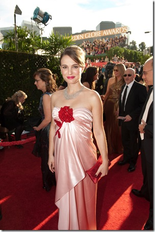 "Nominated for BEST PERFORMANCE BY AN ACTRESS IN A MOTION PICTURE – DRAMA for her role in ""Black Swan,"" actress Natalie Portman attends the 68th Annual Golden Globe Awards at the Beverly Hilton in Beverly Hills, CA on Sunday, January 16, 2011."