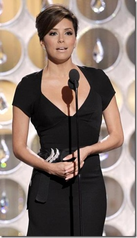 EVA LONGORIA PARKER IN BLACK DRESS AT GOLDEN GLOBES 2011 68TH
