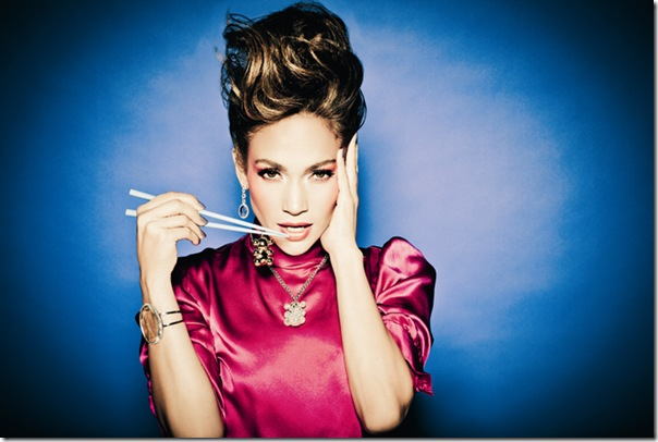 Jennifer Lopez for Tous ad campaign 2011 in pink dress with chopsticks