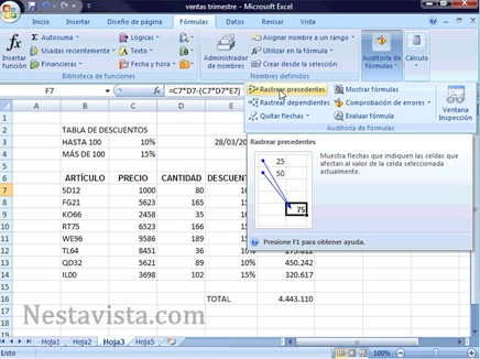 Corregir errores en Excel 2007