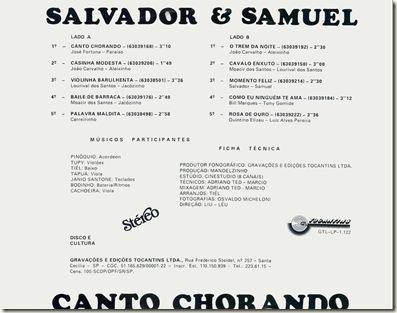 Salvador e Samuel - Contracapa