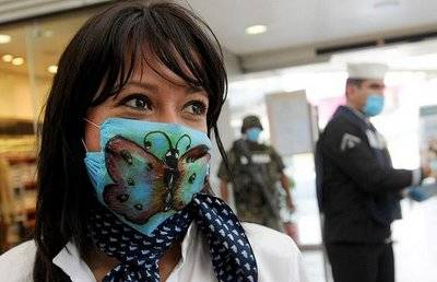 Girl Wearing Butterfly Swine Flu Mask
