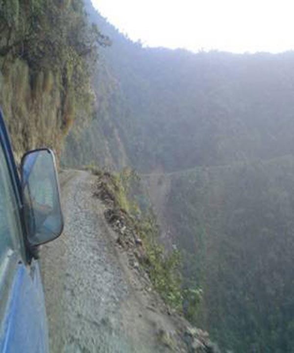Bolivian Highway - Deadly Bolivian Highway - Deadly view from car window