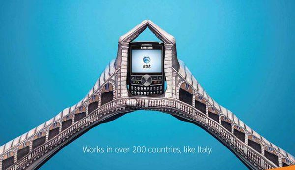 23 creative ads by AT&T [hand-modelling advertisements] - Ponte di Rialto, Venice, Italy