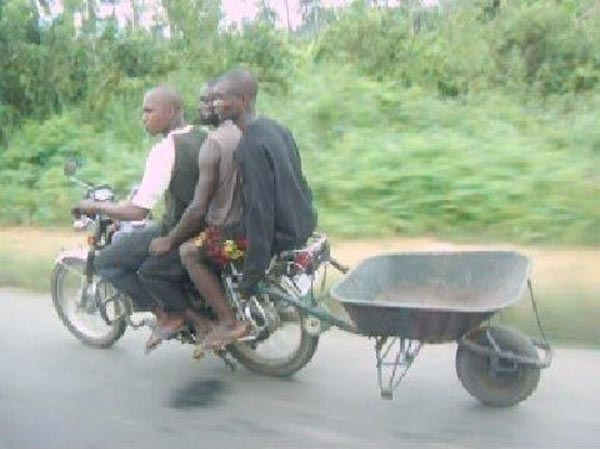 Weekend Fun - Funny things of Africa - Trailer behind a motor bike with 3 riders
