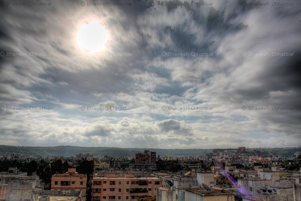 HDR of Sun and Clouds as seen from my home