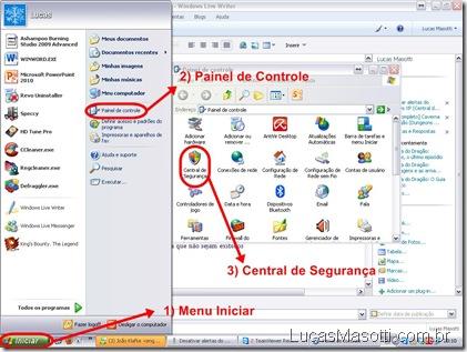 Acessando central segurança Windows