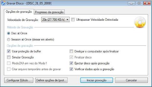 cdburnerxp configuracoes avancadas