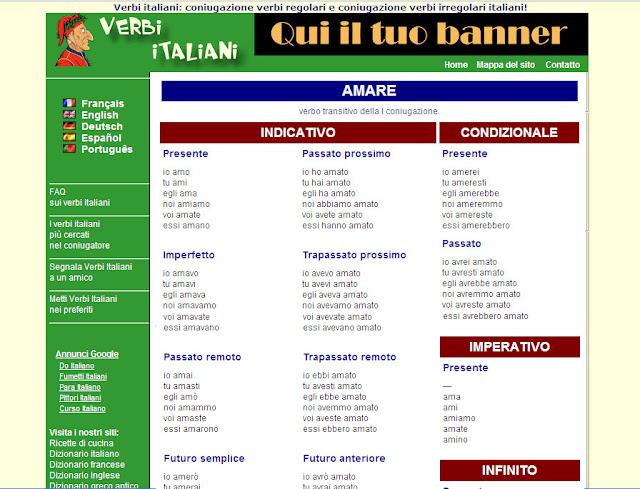 Conjugador de verbos Verbi Italiani