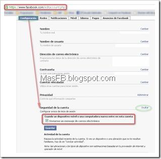 Configurar avisos de inicio de sesión en Facebook