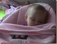 addison sleeping in bouncy