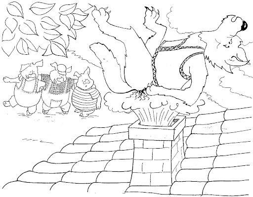 Dibujo para colorear del cuento de los tres cerditos - Imagui