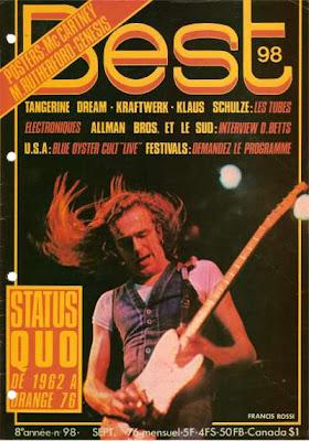 Francis Rossi en couverture de Best en 1976