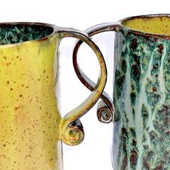 slab built ceramic mugs
