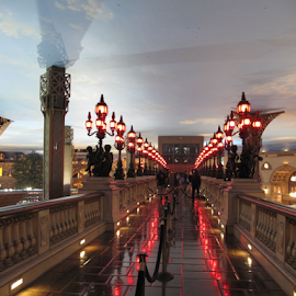 Crossing Over by Donna Neal - Buildings & Architecture Bridges & Suspended Structures ( las vegas, paris hotel )
