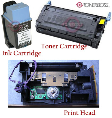 A Toner Cartridge, Ink Cartridge and a laser print head