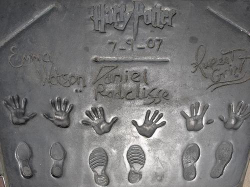 hand and foot print of emma,daniel,grint