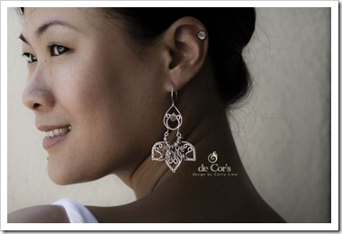 Silver Lotus Earring for wedding