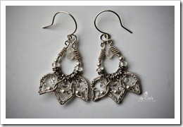 Handmade Wire Jewelry Silver Lotus Earrings for wee