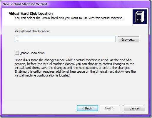 7.a.i Virtual hard disk location for already existing virtual hard disk