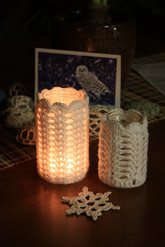 christmas candlestick: crochet votive tutorial