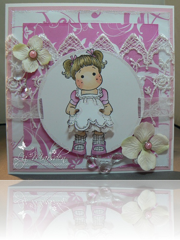 pink card with lace