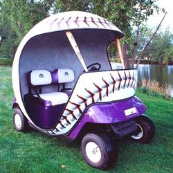 Tiger golfing green cart custom golf cart in purple color