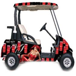 Hire golfing cart in red and black coloring with girl on the side