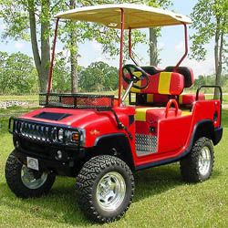 golfing cart 4 by 4 in red color
